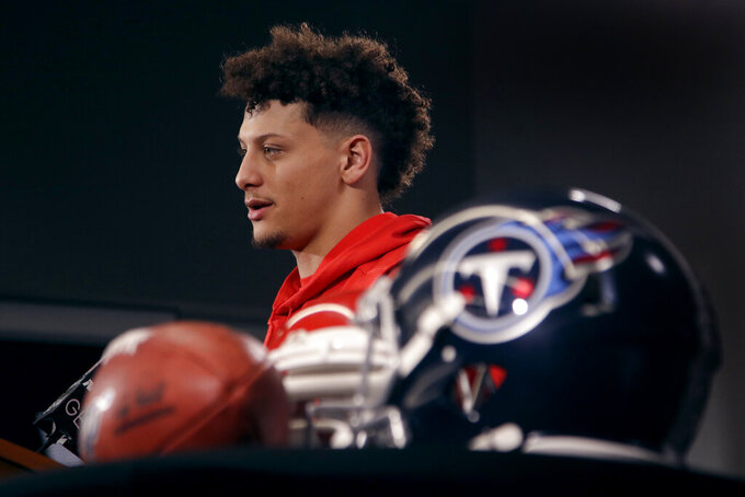 Kansas City Chiefs quarterback Patrick Mahomes addresses the media during a news conference for Sunday's NFL AFC championship football game at Arrowhead Stadium in Kansas City, Mo., Thursday, Jan. 16, 2020. The Chiefs will face the Tennessee Titans for the opportunity to advance to the Super Bowl. (AP Photo/Charlie Riedel)