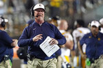 East Tennessee State head coach Randy Sanders looks at the scoreboard in the second half of an NCAA college football game against Vanderbilt Saturday, Sept. 4, 2021, in Nashville, Tenn. (AP Photo/Mark Humphrey)