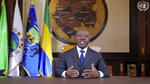 In this image made from UNTV video, Ali Bongo Ondimba, President of Gabon, speaks in a pre-recorded message which was played during the 75th session of the United Nations General Assembly, Thursday Sept. 24, 2020, at U.N. headquarters in New York. (UNTV via AP)
