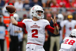 Florida Atlantic quarterback Chris Robison throws a pass against Ohio State during the first half of an NCAA college football game Saturday, Aug. 31, 2019, in Columbus, Ohio. (AP Photo/Jay LaPrete)