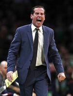 Brooklyn Nets head coach Kenny Atkinson yells at his players during the first quarter of an NBA basketball game against the Boston Celtics in Boston, Monday, Jan. 28, 2019. (AP Photo/Charles Krupa)