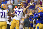 LSU tight end Kole Taylor (87) signals a first down during the first half of the team's NCAA college football game in against McNeese State in Baton Rouge, La., Saturday, Sept. 11, 2021. (AP Photo/Matthew Hinton)
