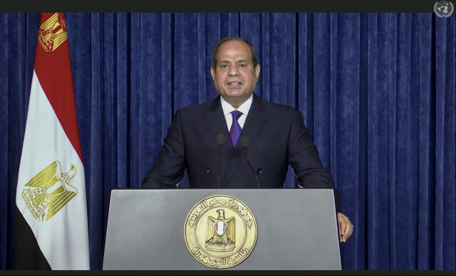 In this image made from UNTV video, Abdel Fattah Al Sisi, President of Egypt, speaks in a pre-recorded message which was played during the 75th session of the United Nations General Assembly, Tuesday, Sept. 22, 2020, at U.N. headquarters in New York. The U.N.'s first virtual meeting of world leaders started Tuesday with pre-recorded speeches from some of the planet's biggest powers, kept at home by the coronavirus pandemic that will likely be a dominant theme at their video gathering this year. (UNTV via AP)
