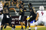 Southern Mississippi quarterback Jack Abraham (15) throws a pass during the first half of the team's NCAA college football game against South Alabama in Hattiesburg, Miss., Thursday, Sept. 3, 2020. (AP Photo/Rogelio V. Solis)