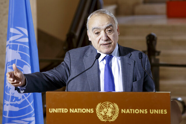 Ghassan Salame, Special Representative of the United Nations Secretary-General and Head of the United Nations Support Mission in Libya, talks at the European headquarters of the United Nations in Geneva, Switzerland, Tuesday, Feb. 18, 2020. The United Nations says Libya's warring sides have resumed talks in Geneva aimed at salvaging a fragile cease-fire in the North African country. The current cease-fire was brokered by Russia and Turkey on Jan. 12, but there have been repeated violations by all sides.  (Salvatore Di Nolfi/Keystone via AP)