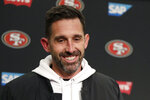 San Francisco 49ers head coach Kyle Shanahan smiles during a news conference after an NFL football game against the Seattle Seahawks, Sunday, Dec. 29, 2019, in Seattle. The 49ers won 26-21. (AP Photo/Stephen Brashear)