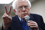Democratic presidential candidate Sen. Bernie Sanders, I-Vt., gives a sign during a campaign event, Sunday, Jan. 5, 2020, in Boone, Iowa. (AP Photo/Patrick Semansky)