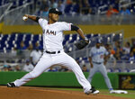 Miami Marlins' Elieser Hernandez delivers a pitch during the first inning of the team's baseball game against the Los Angeles Dodgers, Wednesday, May 16, 2018, in Miami. (AP Photo/Wilfredo Lee)