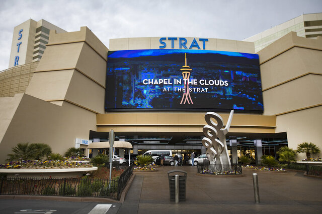 This Jan. 20, 2020, photo shows the Strat in Las Vegas. After more than a year and $100 million upgrading restaurants, guest rooms, the casino floor and more, The Strat in Las Vegas is nearing the end of its renovation project. (Rachel Aston/Las Vegas Review-Journal via AP)