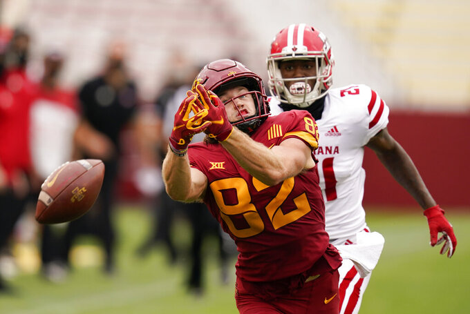 Iowa State wide receiver Landen Akers (82) misses a reception in front of Louisiana-Lafayette cornerback Trey Amos during the second half of an NCAA college football game, Saturday, Sept. 12, 2020, in Ames, Iowa. Louisiana-Lafayette won 31-14. (AP Photo/Charlie Neibergall)