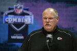 FILE - In this Feb. 25, 2020, file photo, Kansas City Chiefs head coach Andy Reid speaks during a press conference at the NFL football scouting combine in Indianapolis. The NFL Draft is April 23-25. (AP Photo/Michael Conroy, File)