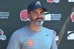 Cleveland Browns head coach Kevin Stefanski speaks to the media after an NFL football practice in Berea, Ohio, Tuesday, Aug. 24, 2021. (AP Photo/David Dermer)