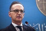 German Foreign Minister Heiko Maas speaks during a news conference, in Tunis, Tunisia, Monday, Oct. 28, 2019. (AP Photo/Hassene Dridi)