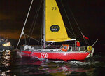 British yachtswoman Susie Goodall sailing her Rustler 36 yacht DHL STARLIGHT on arrival at Hobart, Australia, Oct. 30, 2018, arriving in 4th place in the 2018 Golden Globe Race.  British woman Goodall sailing solo in the Golden Globe Race round-the-world has lost her mast and was knocked unconscious in a vicious storm, and Thursday Dec. 6, 2018, rescuers are trying to reach her in the Southern Ocean, 2,000 miles west of Cape Horn near the southern tip of South America. (Christophe Favreau/PPL Photo Agency, Golden Globe Race via AP)