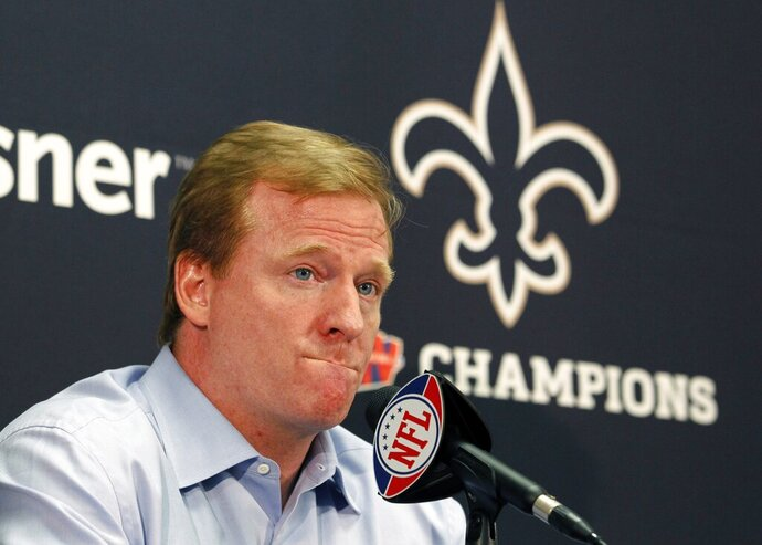 FILE - In this Aug. 2, 2010, file photo, NFL commissioner Roger Goodell speaks at a media conference at the New Orleans Saints training facility in Metairie, La. There's Spygate and deflated footballs, a bullying incident and a bounties case. Those are just a few of the biggest scandals that have plagued the NFL just in the past 15 years, excluding all the players suspended for allegations of domestic violence. (AP Photo/Gerald Herbert, File)