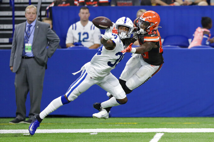 Indianapolis Colts cornerback Marvell Tell (39) breaks up a pass intended for Cleveland Browns wide receiver D.J. Montgomery (83) during the second half of an NFL preseason football game in Indianapolis, Saturday, Aug. 17, 2019. Tell was called for pass interference on the play. (AP Photo/Michael Conroy)