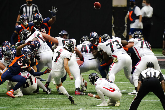 Atlanta Falcons kicker Younghoe Koo (7) kicks a field goal against the Denver Broncos during the first half of an NFL football game, Sunday, Nov. 8, 2020, in Atlanta. (AP Photo/Brynn Anderson)