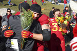 Iowa State head coach Matt Campbell, left, embraces offensive lineman Julian Good-Jones during senior day before an NCAA college football game against Kansas, Saturday, Nov. 23, 2019, in Ames, Iowa. (AP Photo/Matthew Putney)