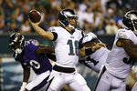 Philadelphia Eagles' Josh McCown passes during the first half of a preseason NFL football game against the Baltimore Ravens, Thursday, Aug. 22, 2019, in Philadelphia. (AP Photo/Michael Perez)