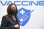 U.S. Vice President Kamala Harris visits the National Institute of Hygiene and Epidemiology (NIHE) where 270,000 doses of Pfizer vaccine arrived earlier in the morning, in Hanoi, Vietnam, Thursday, Aug. 26, 2021. (Evelyn Hockstein/Pool Photo via AP)