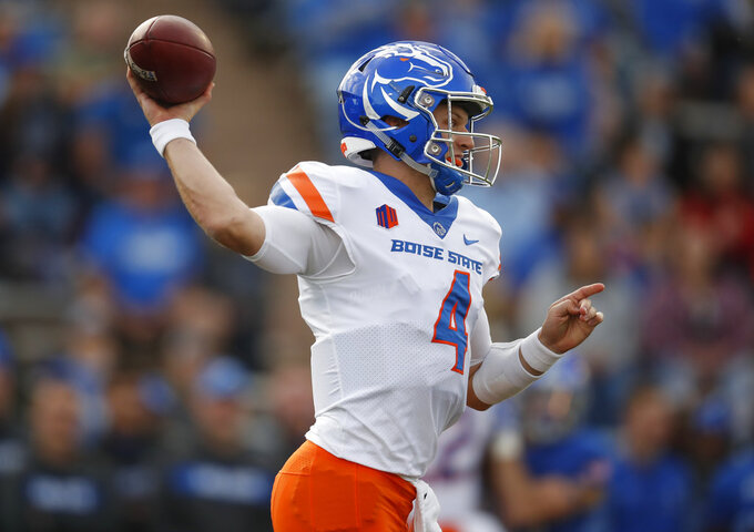 Boise State quarterback Brett Rypien prepares to throw a pass in the first half of an NCAA college football game against Air Force, Saturday, Oct. 27, 2018, at Air Force Academy, Colo. (AP Photo/David Zalubowski)