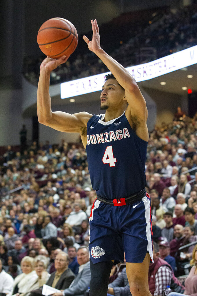 Gonzaga guard Ryan Woolridge (4) makes a 3-point basket against Texas A&M during the first half of an NCAA college basketball game Friday, Nov. 15, 2019, in College Station, Texas. (AP Photo/Sam Craft)