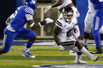 Mississippi State running back Kylin Hill (8) runs with the ball during the first half the team's NCAA college football game against Kentucky, Saturday, Oct. 10, 2020, in Lexington, Ky. (AP Photo/Bryan Woolston)