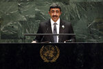Sheikh Abdullah bin Zayed Al Nahyan, Foreign Minister of the United Arab Emirates, addresses the 74th session of U.N. General Assembly, Saturday, Sept. 28, 2019. (AP Photo/Richard Drew)