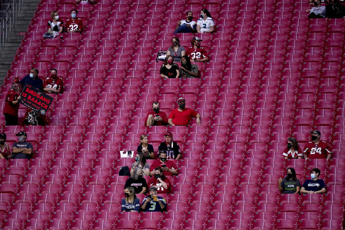 Arizona Cardinals and Seattle Seahawks fans watch during the first half of an NFL football game, Sunday, Oct. 25, 2020, in Glendale, Ariz. (AP Photo/Ross D. Franklin)