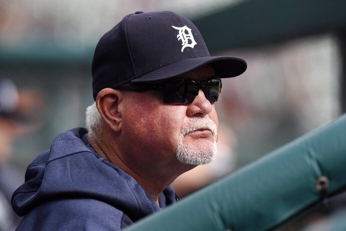 "File-This Sept. 15, 2019, file photo shows Detroit Tigers manager Ron Gardenhire watching his team play against the Baltimore Orioles in the seventh inning of a baseball game in Detroit.  It could be another long season for the Detroit Tigers, but fans in the Motor City may not have to look far for signs of hope. About 60 miles down Interstate 75. ""We've got some pretty good ones going to Triple-A Toledo,"