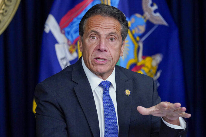New York Gov. Andrew Cuomo speaks during a news conference, Wednesday, June 23, 2021, in New York.  Cuomo's campaign contributors say they're still planning to donate money for his re-election, despite ongoing investigations into allegations that he sexually harassed employees and manipulated data on COVID-19 fatalities in nursing homes.  (AP Photo/Mary Altaffer)