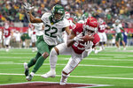 Oklahoma wide receiver Nick Basquine (83) hauls in a touchdown catch in front of Baylor safety JT Woods (22) during the second half of an NCAA college football game for the Big 12 Conference championship, Saturday, Dec. 7, 2019, in Arlington, Texas. Oklahoma won 30-23. (AP Photo/Jeffrey McWhorter)