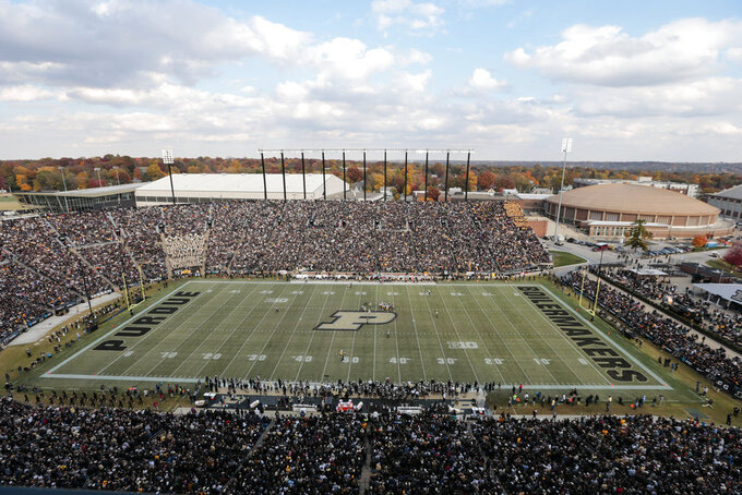 Ross-Ade Stadium  is viewed as Purdue plays against Iowa in the first half of an NCAA college football game in West Lafayette, Ind., Saturday, Nov. 3, 2018. (AP Photo/AJ Mast)