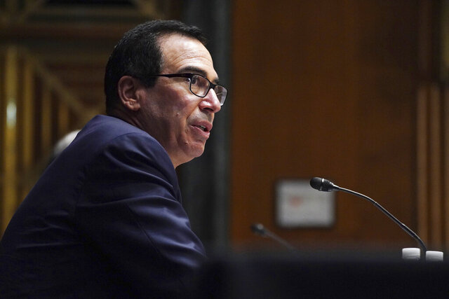Treasury Secretary Steve Mnuchin testifies during the Senate's Committee on Banking, Housing, and Urban Affairs hearing examining the quarterly CARES Act report to Congress on Capitol Hill, Wednesday, Sept. 24, 2020, in Washington. (Toni L. Sandys/The Washington Post via AP, Pool)