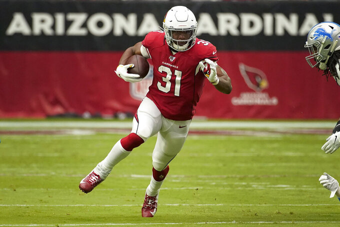 Arizona Cardinals running back David Johnson (31) runs against the Detroit Lions during the first half of an NFL football game, Sunday, Sept. 8, 2019, in Glendale, Ariz. (AP Photo/Rick Scuteri)