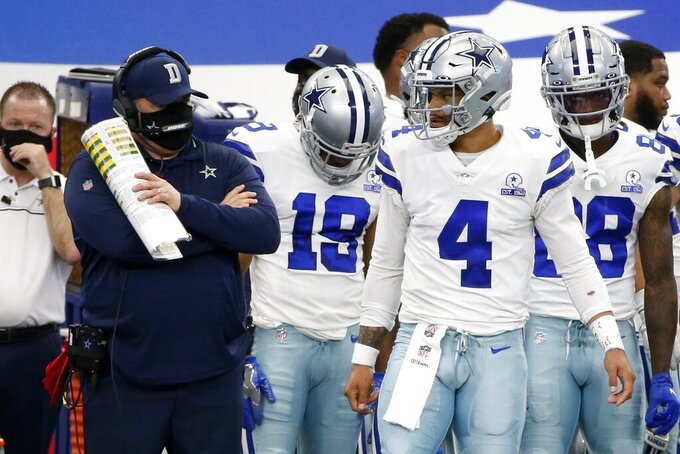 Dallas Cowboys head coach Mike McCarthy, left, talks with quarterback Dak Prescott (4) on the sideline in the first half of an NFL football game against the Atlanta Falcons in Arlington, Texas, Sunday, Sept. 20, 2020. (AP Photo/Michael Ainsworth)