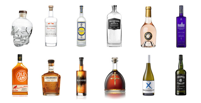 This combination photo shows a variety of celebrity spirits, top row from left, Crystal Head Vodka by Dan Aykroyd, Dos Hombres mezcal by actors Aaron Paul and Bryan Cranston, Cuca Fresca Cachaça Prata by Snoop Dogg, Aviation American Gin by Ryan Reynolds, Chateau Miraval Cotes de Provence Rose by Brad Pitt and Angelina Jolie, Highclere Castle Gin inspired by