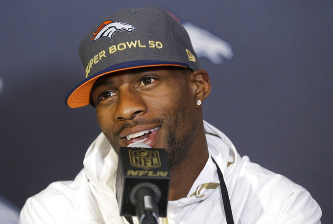 FILE - Then-Denver Broncos wide receiver Emmanuel Sanders speaks to reporters in advance of the Super Bowl 50 NFL football game in Santa Clara, Calif., in this Tuesday, Feb. 2, 2016, file photo. New Orleans Saints first-year receiver Emmanuel Sanders is trying to reach his fourth Super Bowl with a fourth different team. (AP Photo/Jeff Chiu, File)