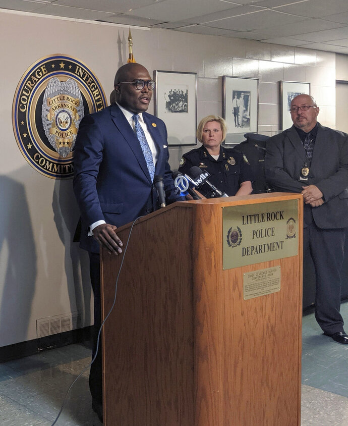Little Rock Mayor Frank Scott addresses reporters at a news conference which the city's police department detailed overhauls to its no-knock drug raid policies, Wednesday, June 12, 2019 in Little Rock, Ark. (AP Photo/Hannah Grabenstein)
