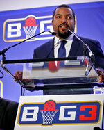 FILE - In this Jan. 11, 2017, file photo, Ice Cube announces the launch of the Big3 professional basketball league in New York. Whether sitting courtside in Philly or filming in Hollywood, Ice Cube remains the famous face of his 3-on-3 halfcourt Big3 basketball league.  (AP Photo/Bebeto Matthews, File)