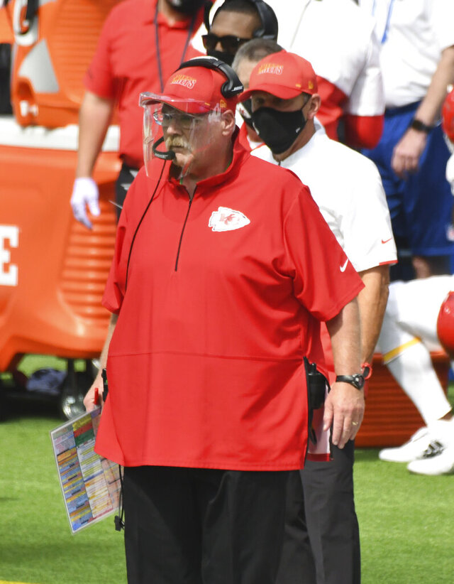 Kansas City Chiefs head coach Andy Reid watches the first half of an NFL football game against the Los Angeles Chargers in Inglewood, Calif., Sunday, Sept. 20, 2020. (Keith Birmingham/The Orange County Register via AP)