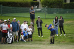 Cameron Champ hits his approach shot from off the first fairway of the Silverado Resort North Course during the final round of the Safeway Open PGA golf tournament Sunday, Sept. 29, 2019, in Napa, Calif. (AP Photo/Eric Risberg)