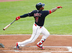 Cleveland Indians' Jose Ramirez hits a solo home run off New York Yankees starting pitcher CC Sabathia during the first inning of a baseball game, Saturday, July 14, 2018, in Cleveland. (AP Photo/Ron Schwane)