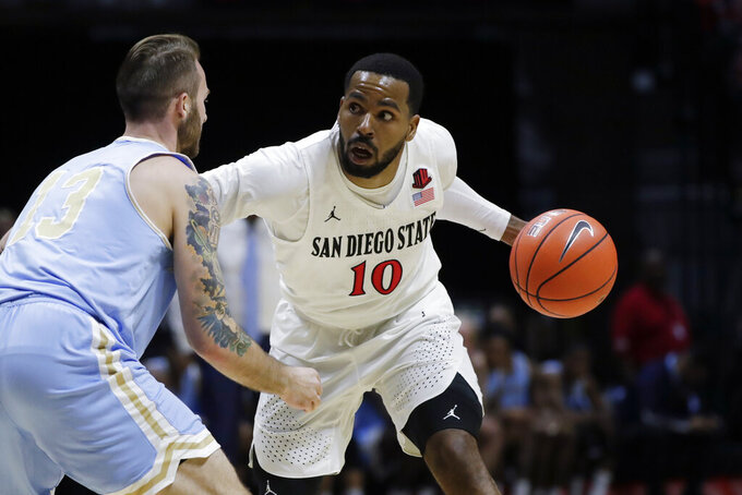 San Diego State guard KJ Feagin, right, dribbles the ball as San Diego Christian guard Gabe Shelmidine defends during the second half of an NCAA college basketball game Wednesday, Dec. 18, 2019, in San Diego. (AP Photo/Gregory Bull)