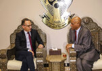 Foreign Minister of Germany Heiko Maas, left, meets with Sudanese Undersecretary of the Foreign Ministry Omer Dahab Fadl Mohamed, at the Khartoum International Airport in Sudan, early Tuesday, Sept. 3, 2019. Sudan's state-run news agency said Maas arrived in Sudan in a first visit by a German top diplomat to the African country since 2011. ups, which remain among the top challenges facing the country's new administration. (AP Photo)