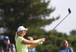 Sweden's AnnaNordqvist reacts to he drive from the 7th tee during the final round of the Women's British Open golf championship, in Carnoustie, Scotland, Sunday, Aug. 22, 2021. (AP Photo/Scott Heppell)