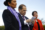 House Judiciary Committee Chair Jerrold Nadler, D-N.Y., center, attends a news conference alongside Rep. Deb Haaland, D-N.M., left, after the House voted to reauthorize the Violence Against Women Act, Thursday, April 4, 2019, on Capitol Hill in Washington. (AP Photo/Patrick Semansky)