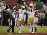 Notre Dame's John Shannon (54) celebrates after recovering a fumble on a punt return in the second half of an NCAA college football game against Stanford Saturday, Nov. 30, 2019, in Stanford, Calif. (AP Photo/Ben Margot)