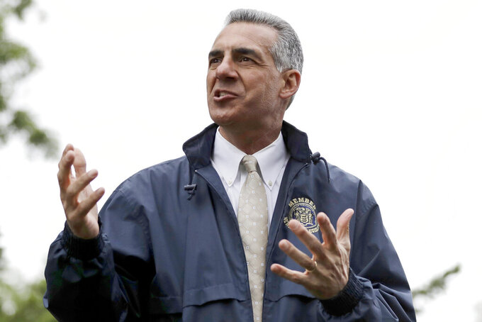 FILE - In this May 29, 2017, file photo, New Jersey Assemblyman Jack Ciattarelli speaks to a crowd in Bridgewater, N.J. New Jersey's gubernatorial election is coming into focus, with Democratic Gov. Phil Murphy defending his progressive record and Republican Jack Ciattarelli homing in on affordability and taxes.  (AP Photo/Julio Cortez, File)