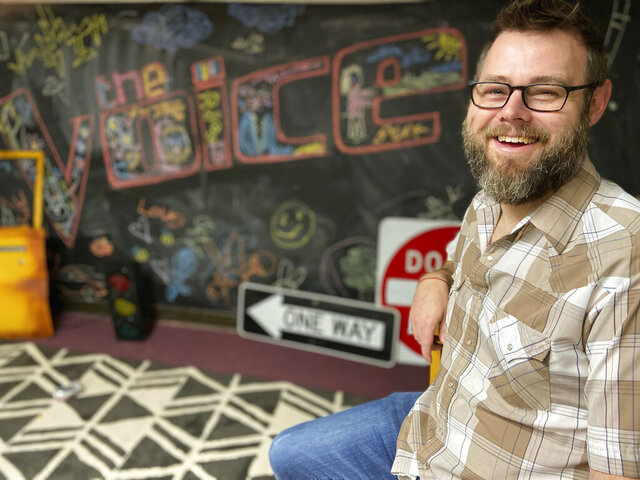Pastor Todd Tilghman poses in the children's room of the Cornerstone Church in Meridian, Miss., Thursday, May 21, 2020, where portions of the television show